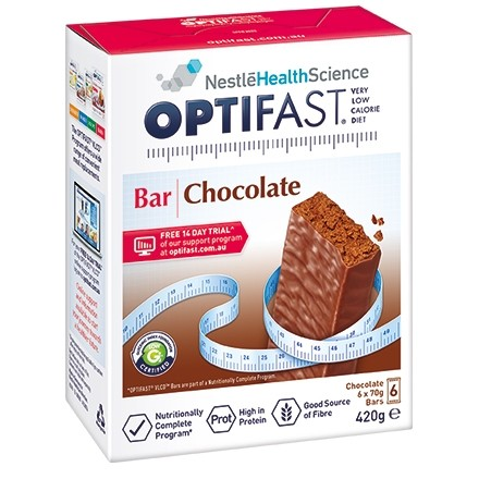OPTIFAST VLCD BAR 6 x 70gm bars - CHOCOLATE