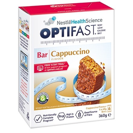 OPTIFAST  VLCD BAR 6 x 60gm bars - CAPPUCINO