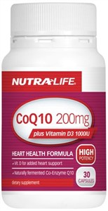 Nutralife CoQ10 200mg Plus Vit D 1000IU 30