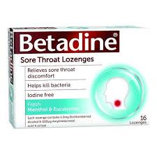 BETADINE Sore Throat Lozenges Menthol & Eucalyptus 16 (Expires 02/21)