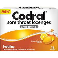CODRAL Sore Throat Lozenges Honey/Lemon 16