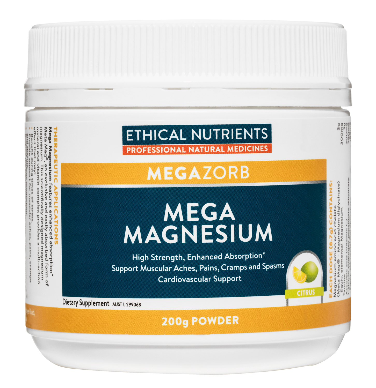 Ethical Nutrients Mega Magnesium Powder 200g Citrus Flavour