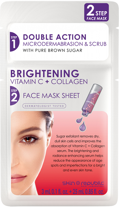 Skin Republic 2Step Brightening Vitamin C + Collagen Face Mask