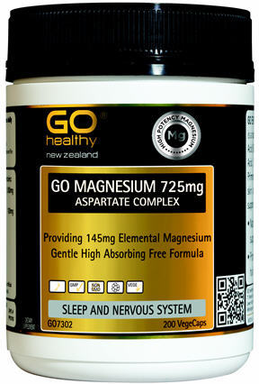 GO Healthy Magnesium 725mg Aspartate Comp. 200 Vege Caps
