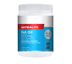 Nutra-Life Fish Oil 1500mg + Vitamin D 300 caps