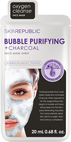 Skin Republic Bubble Purifying + Charcoal  Face Mask 20ml
