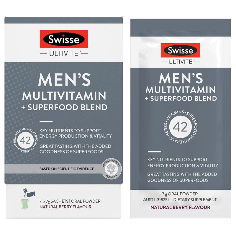 SWISSE Mens Ultivite Multi Vitamin + Super Food Blend 7pk