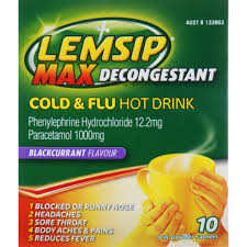 LEMSIP Max Cold & Flu Decongestant Blackcurrant 10 sachets