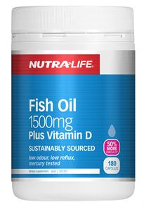 Nutralife Fish Oil 1500mg +Vit. D Cap 180